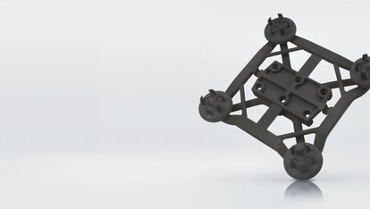 Additively manufactured gripper for Wittmann, ingenious design by kuhnstoff with integrated compressed air channels, 3D printed, PA 2200 | © EOS