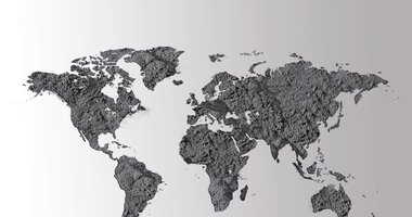 World map from powder | © EOS